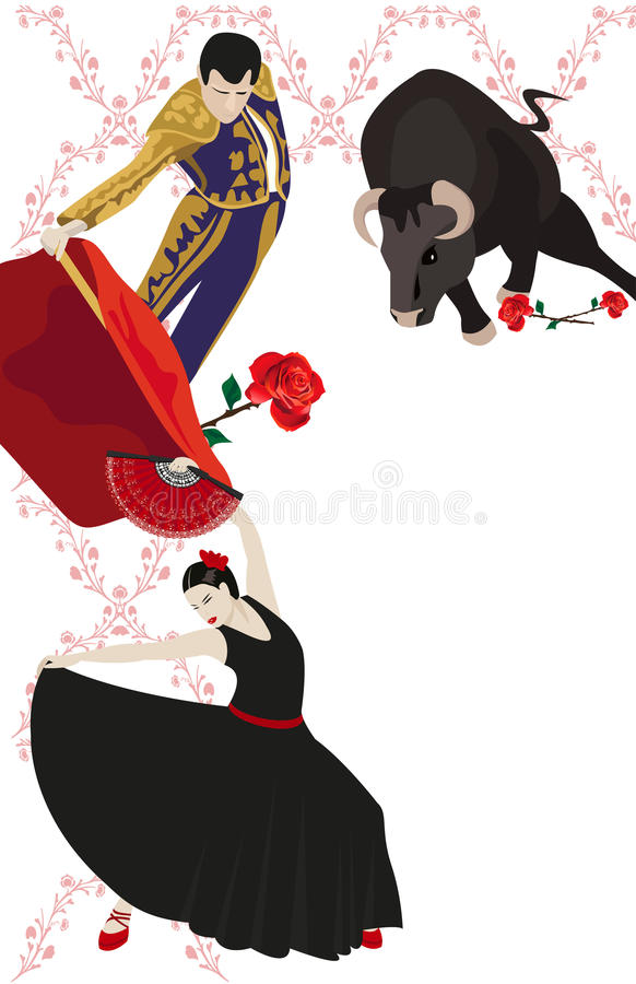 Flamenco en Stierenvechten vector illustratie