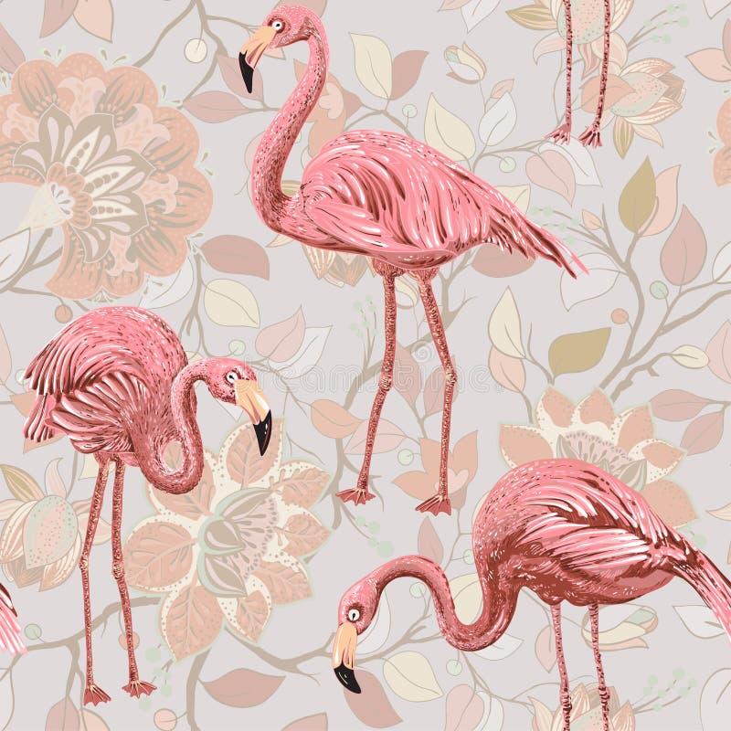 Flamenco en un fondo rosado, Modelo inconsútil con los flamencos y las plantas tropicales clipart del vector Paisley colorida libre illustration
