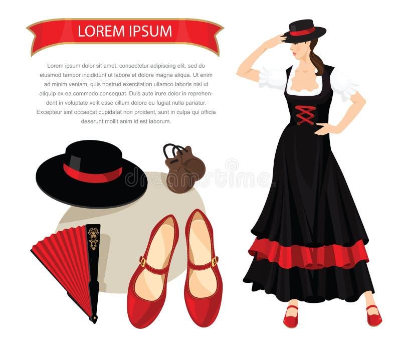 Flamenco equipment and woman dancer. Vector illustration of woman dancer in spanish folk costume. Element of traditional flamenco equipment. Brunette girl get royalty free illustration