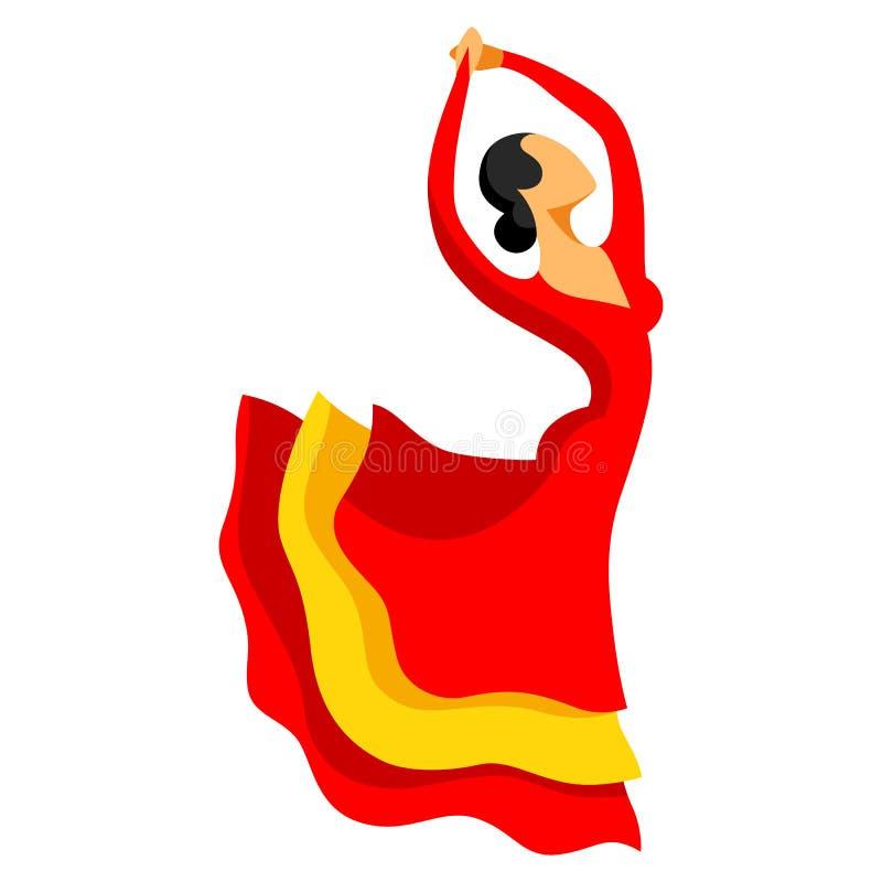 Flamenco espanhol tradicional A mulher no vestido vermelho está dançando ilustração royalty free