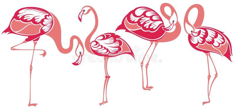 flamenco Flamencos tropicales del pájaro ilustración del vector