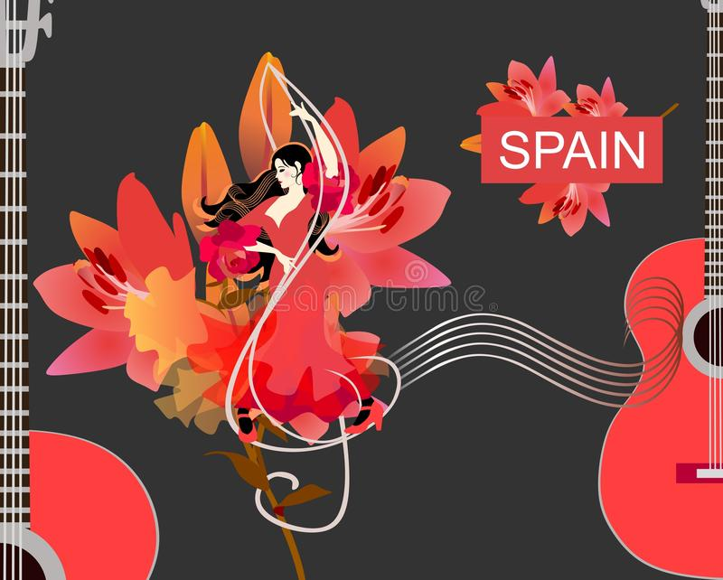 Flamenco girl dancer in red dress, treble clef and musical rulers, guitars silhouettes and large lilies flowers vector illustration