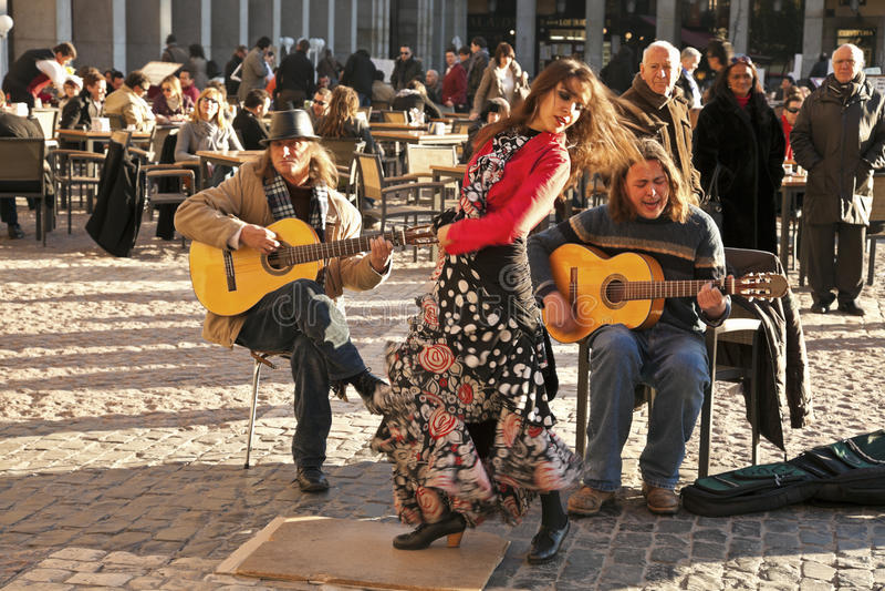 Flamenco group performing on Plaza Mayor royalty free stock photo