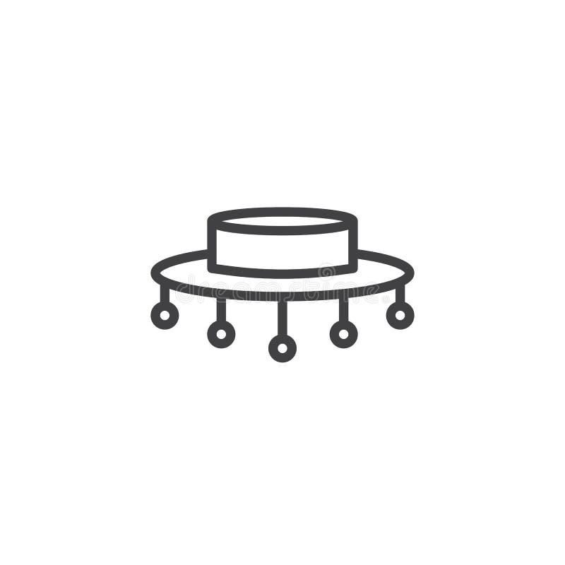 Flamenco hat line icon stock illustration