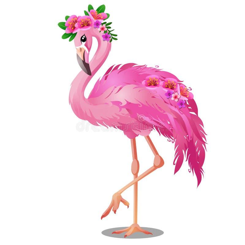 Flamenco hermoso del rosa del pájaro con las flores aisladas en el fondo blanco Ejemplo del primer de la historieta del vector ilustración del vector