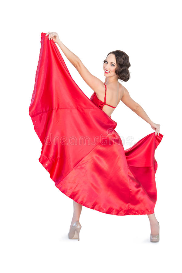 Flamenco lindo de sorriso da dança da mulher fotografia de stock royalty free
