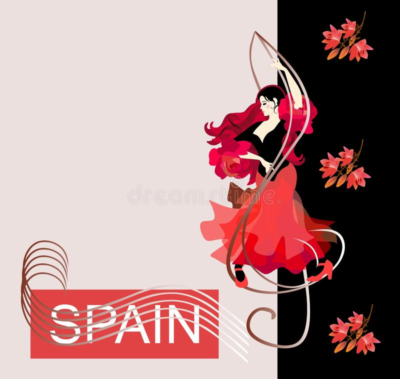 Flamenco logo. Cover for a music album. Beautiful Spanish girl dancing flamenco, standing on the treble clef. Red lilies fall royalty free illustration