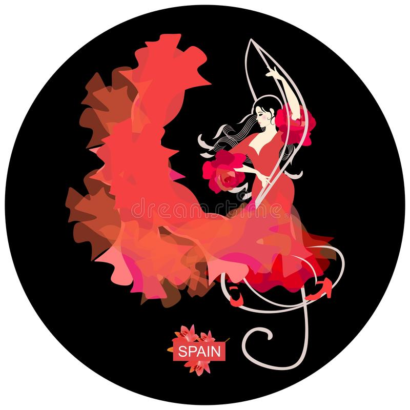 Flamenco logo round shape. Young Spanish woman with curls in form of musical rulers, dressed in traditional red dress, dancing. Flamenco, standing on treble royalty free illustration