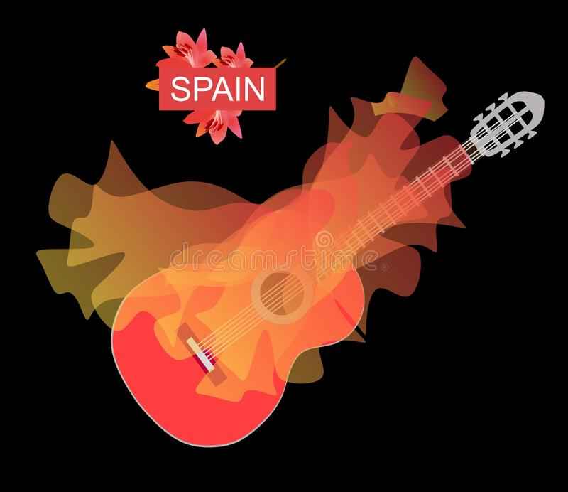 Flamenco logo. Transparent flying shawl, bright as a flame, over a red guitar on a deep black background. royalty free illustration