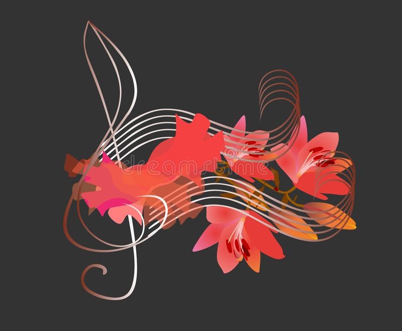 Flamenco logo. Treble clef, luxury piece of red fabric and musical notes in shape of lilies flowers on black background. Concert. Poster, greeting or invitation vector illustration