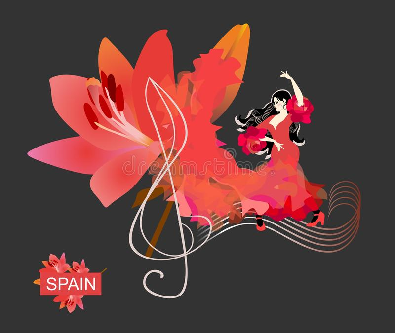 Flamenco logo. Treble clef and note rulers on black background. Spanish girl dressed in red dress, dancing on sheet music. Fabric, like a flame, turns into big royalty free illustration