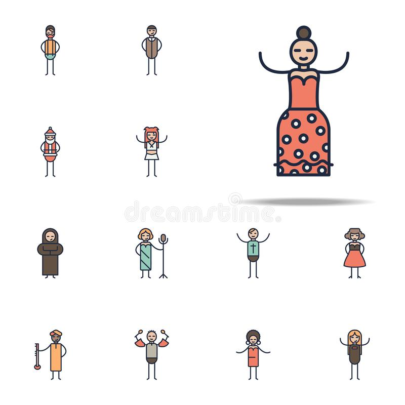 flamenco musician icon. Linear musical genres icons universal set for web and mobile vector illustration