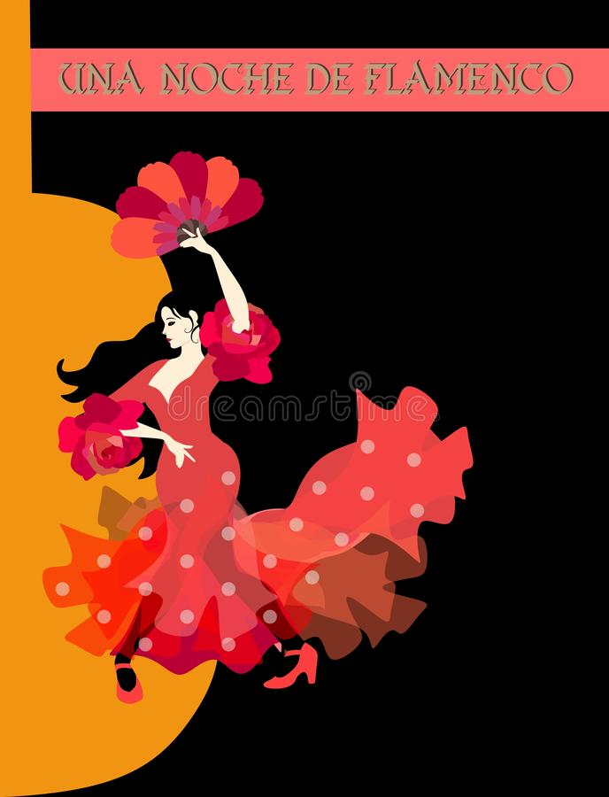 Flamenco night inscription in Spanish. Graceful woman dressed in red dress and with fan in her hand dancing. Against the background of silhouette of guitar stock illustration