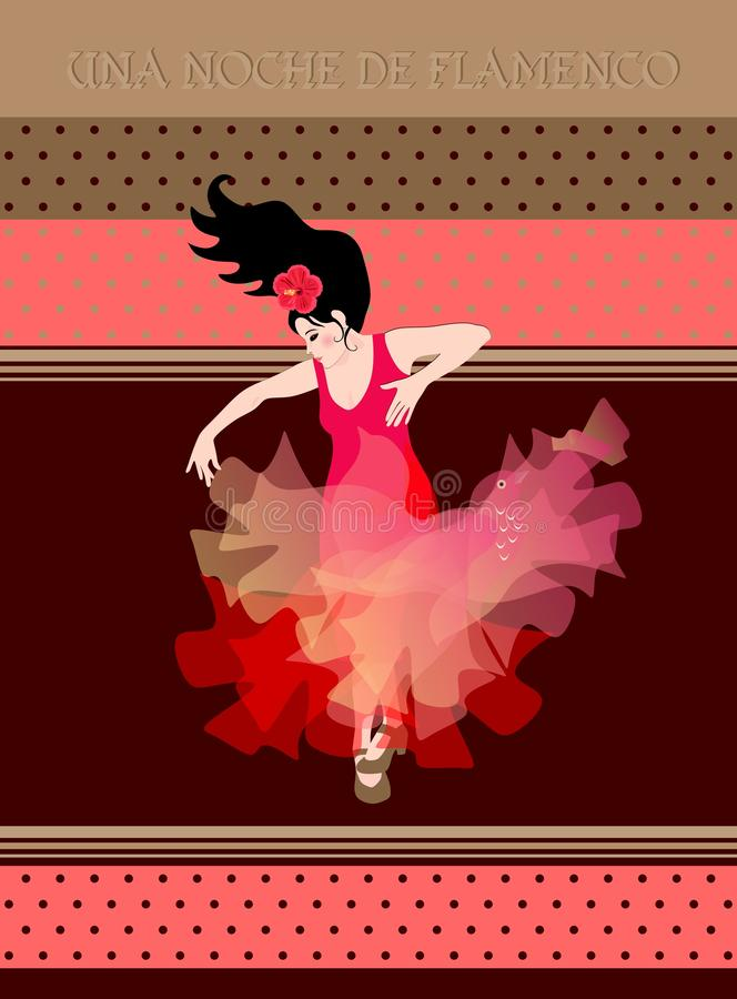 Flamenco night text in spanish. Young girl in a red dress with a shawl in the form of a flying bird is dancing royalty free illustration