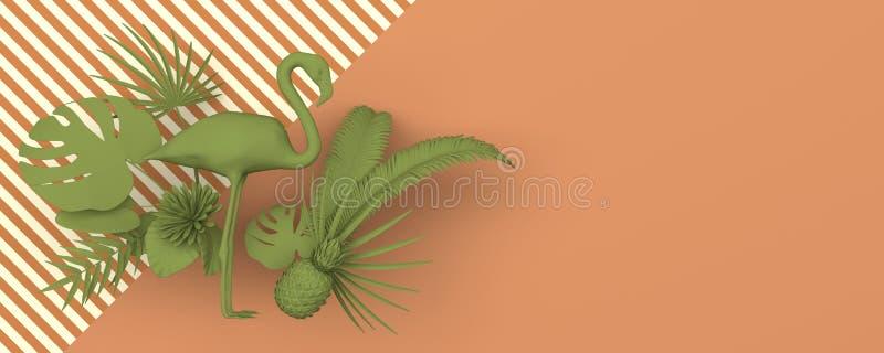 Flamenco rodeado por las plantas exóticas tropicales Imagen verde monocromática en un fondo del jengibre con un modelo rayado geo stock de ilustración