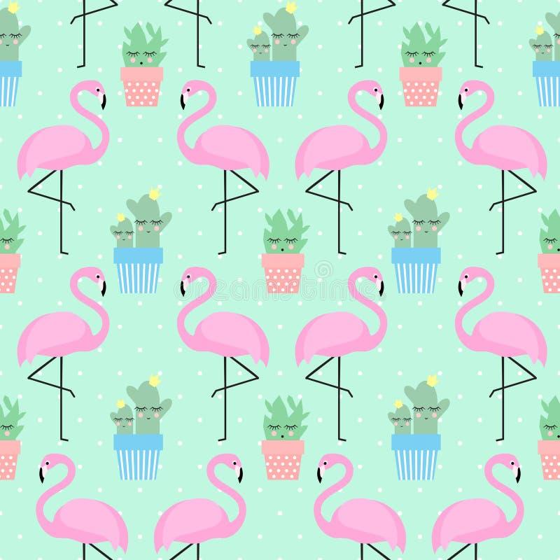 Flamenco rosado con el cactus stock de ilustración