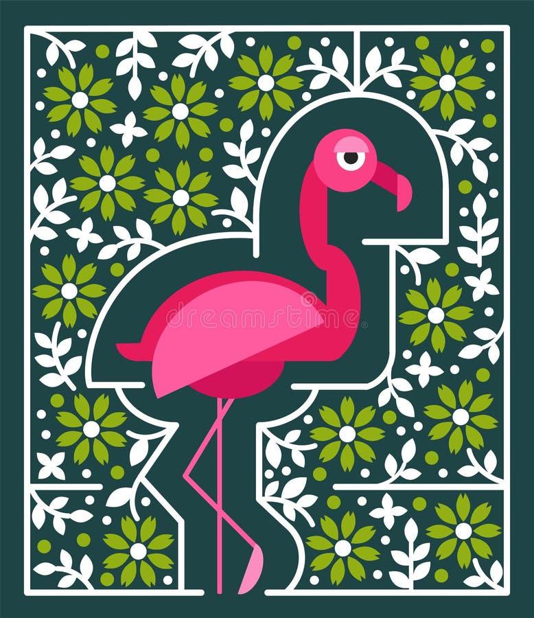 Flamenco rosado con las flores Pájaro tropical en estilo geométrico plano ilustración del vector