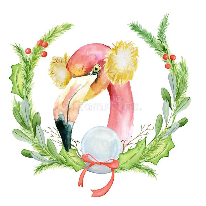 Flamenco rosado de la Navidad en el ejemplo de la acuarela con las guirnaldas florales ilustración del vector