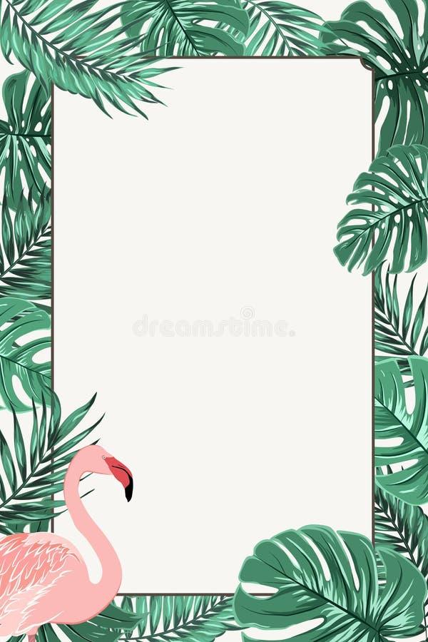 Flamenco rosado de las hojas tropicales del verde del marco de la frontera ilustración del vector