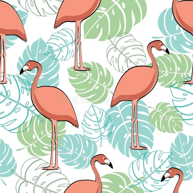 Flamenco rosado y modelo inconsútil de moda de las hojas tropicales ilustración del vector