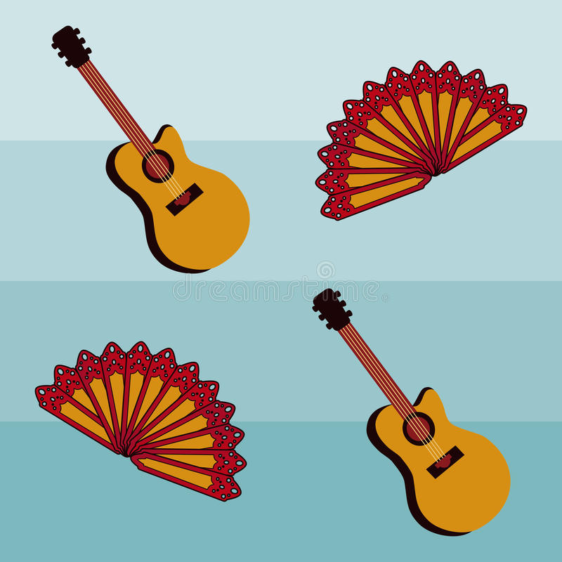 Flamenco seamless pattern with spanish guitar, vector royalty free stock images