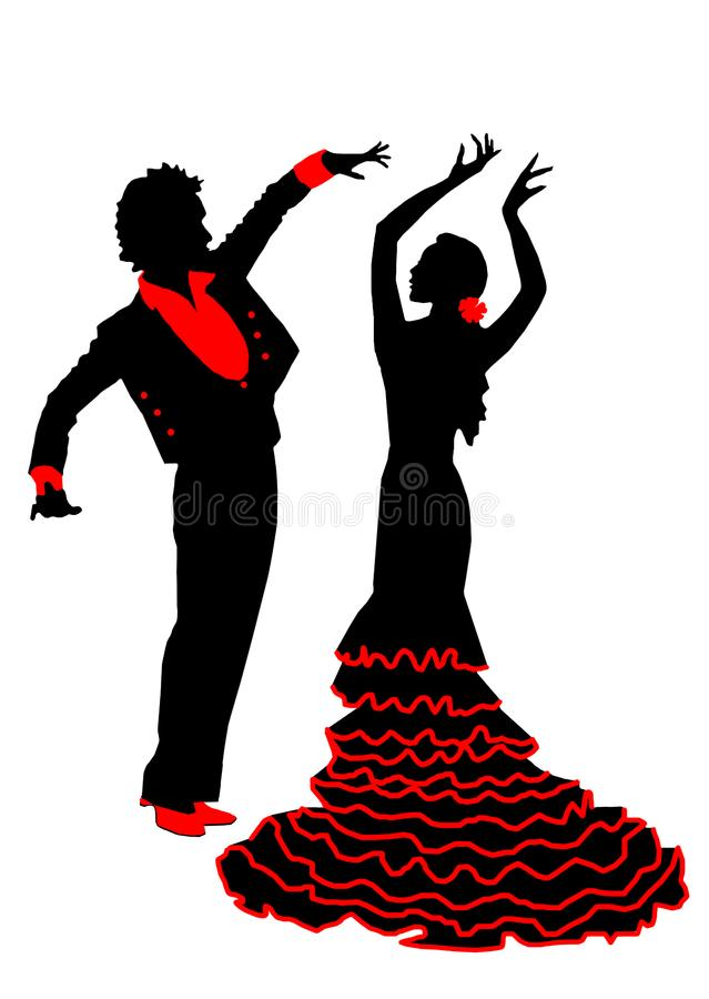 Flamenco: Silhouettes of dancing pair. Black silhouettes of dancing pair of flamenco on a white background. The image of the dancers is decorated in red. EPS royalty free illustration