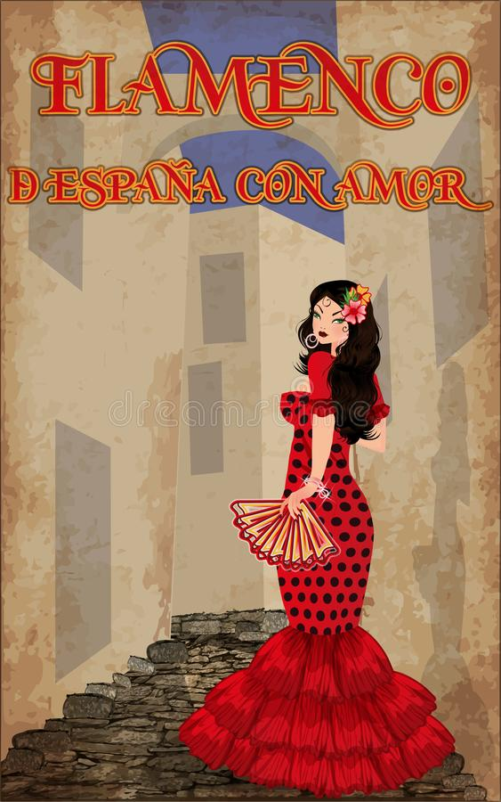 Flamenco. From Spain with love. Beautiful spanish dancing girl on the street. Vector illustration stock illustration