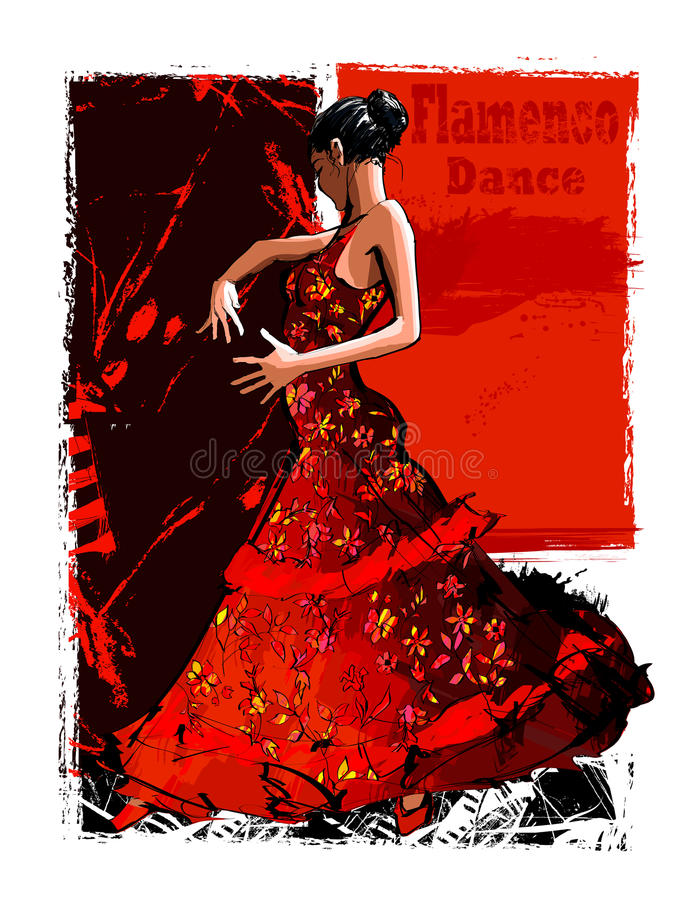 Flamenco spanish dancer woman royalty free illustration