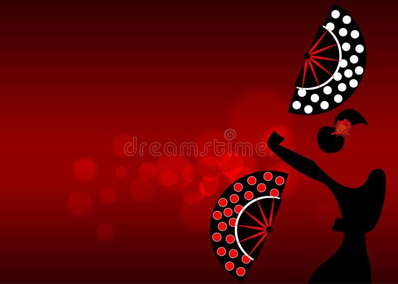 Flamenco tancerz, seksownej sylwetki piękna Hiszpańska kobieta z falcowaniem wachluje polek kropek dekorację w spektakularnej poz royalty ilustracja