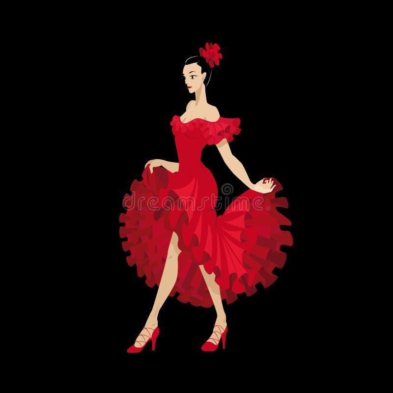 Flamenco tancerz w czerwonej sukni zdjęcia stock