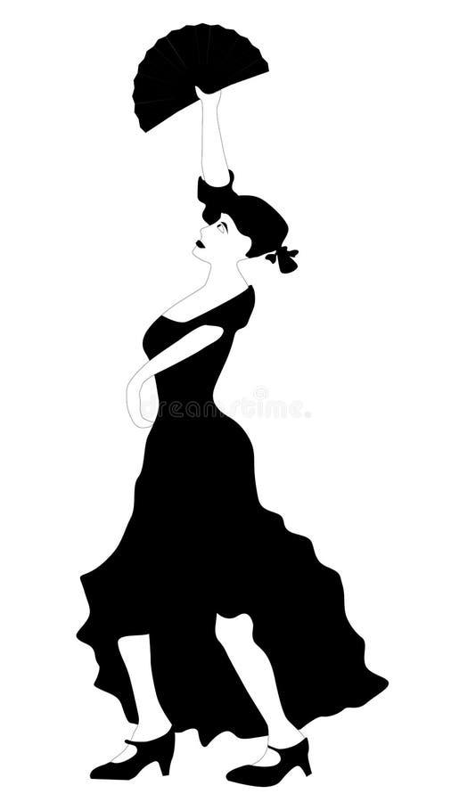 Flamenco tancerz z fan royalty ilustracja
