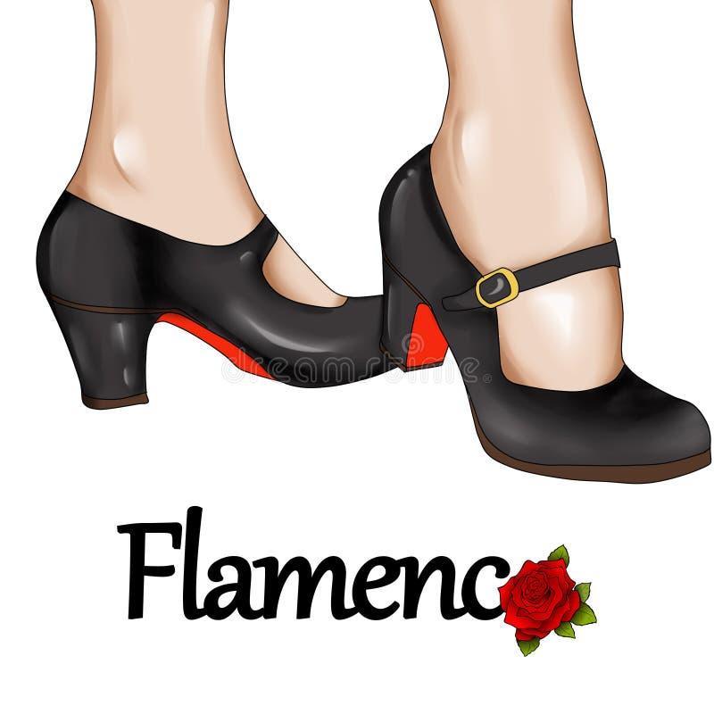 Flamenco tancerza cieki - ręka rysująca ilustracja ilustracji