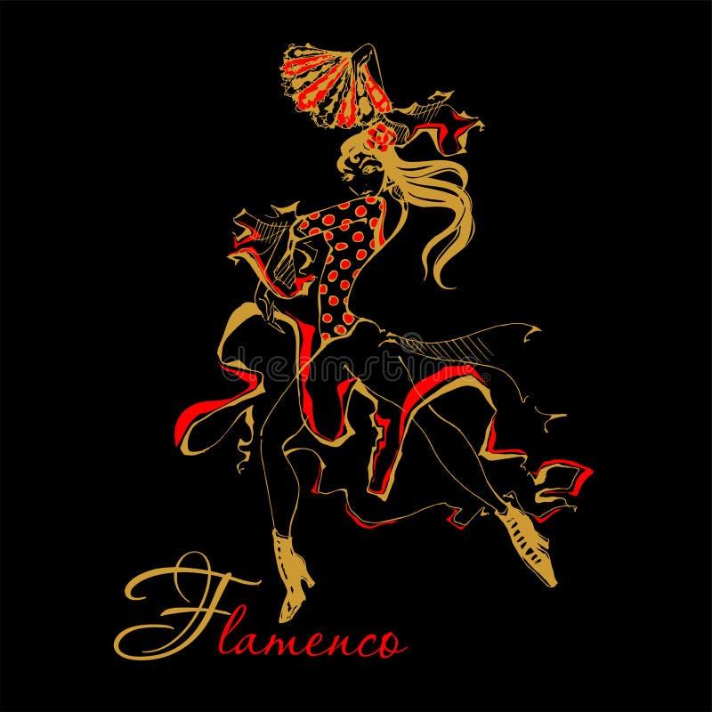 Flamenco tancerza kobiety wektoru Hiszpańska ilustracja Czarny tło royalty ilustracja