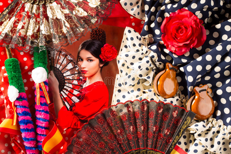 Flamenco woman with bullfighter and typical Spain Espana. Elements like castanets fan and comb stock photography