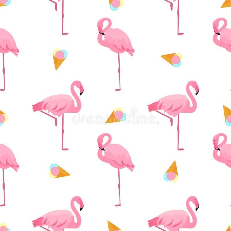 Flamenco y helado Modelo incons?til tropical del verano Utilizado para las superficies de dise?o, telas, materias textiles, papel libre illustration
