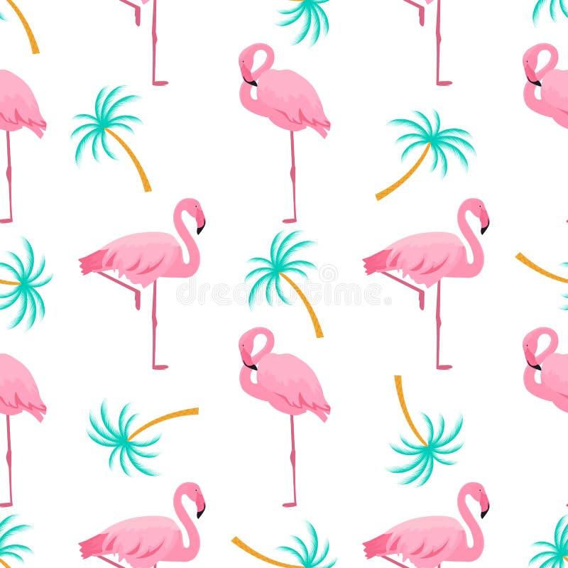 Flamenco y palmera Modelo incons?til tropical del verano Utilizado para las superficies de dise?o, telas, materias textiles, pape ilustración del vector