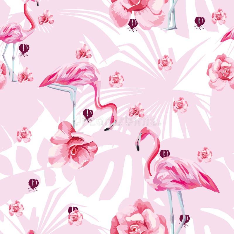 Flamenco y rosas del pájaro de la belleza inconsútiles stock de ilustración