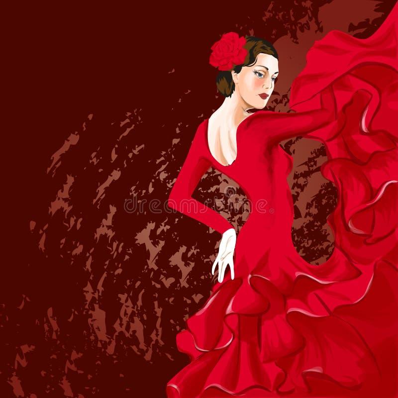 Flamencodansare royaltyfri illustrationer