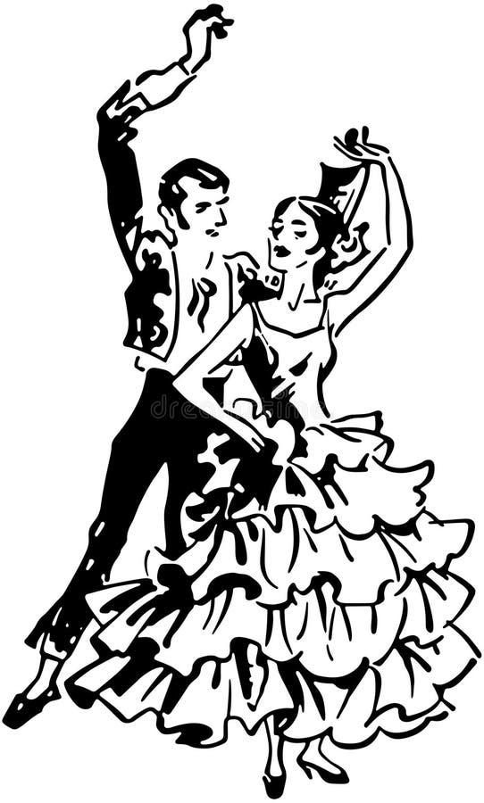 Flamencodansare 2 stock illustrationer