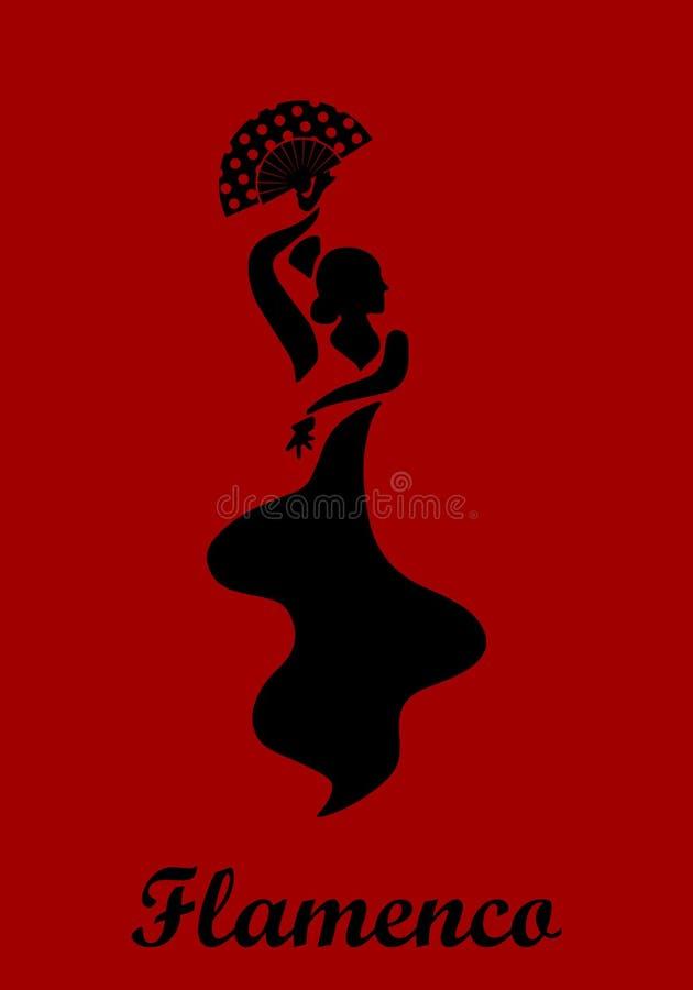 Flamencokvinnaaffisch stock illustrationer