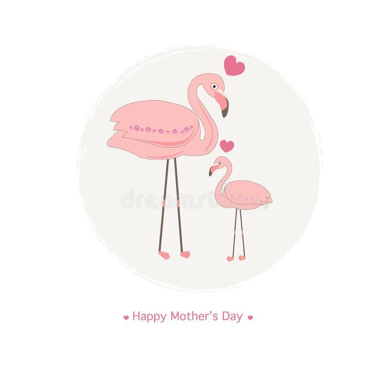 Flamencos Flamenco de la madre y flamenco del bebé Tarjeta de felicitación del día del ` s de la madre stock de ilustración