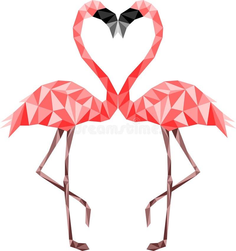 Flamencos polivinílicos bajos rosados en amor Colores seguros del web ilustración del vector