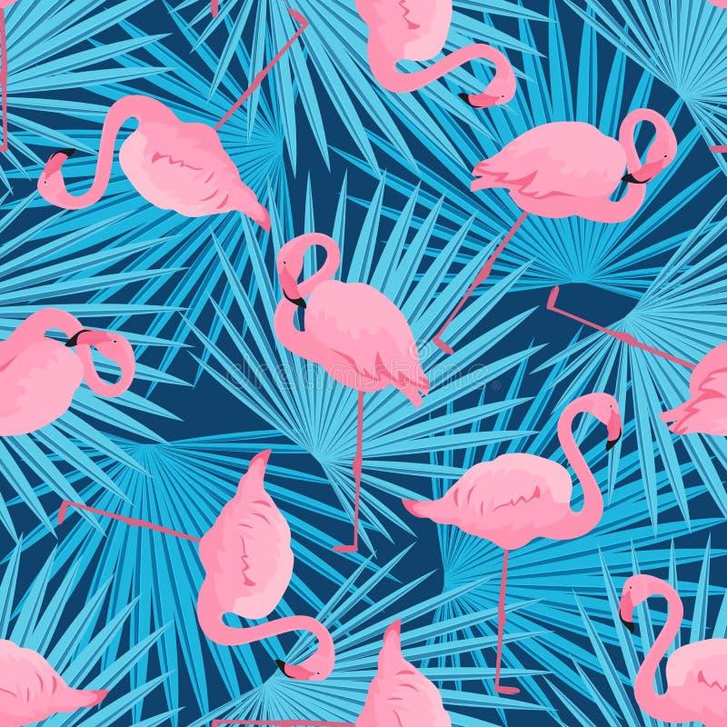 Flamencos y hojas de palma agraciados Modelo incons?til del verano tropical libre illustration
