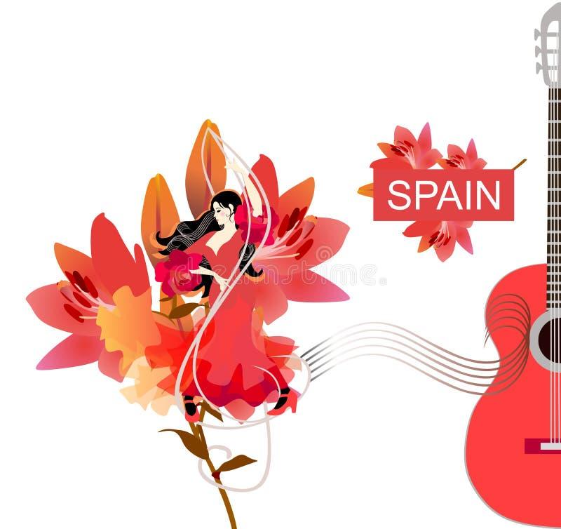 Flamencot?nzerm?dchen Konzertplakatdesign Junge spanische Frau tanzt auf Violinschlüssel gegen große schöne Lilienblume stock abbildung