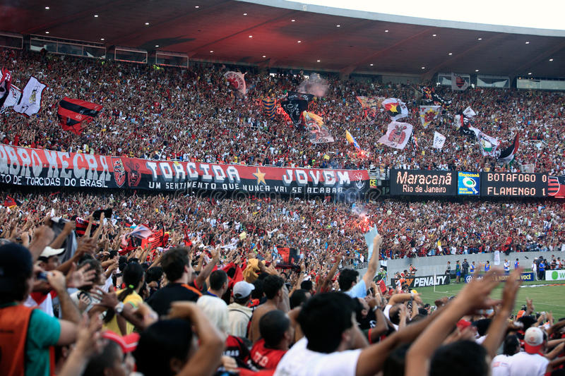 Flamengo supporters maracana stadium. Rio de Janeiro, Brazil - September 13, 2007: Flamengo supporters at the soccer rio state championship 2007 final between stock photography