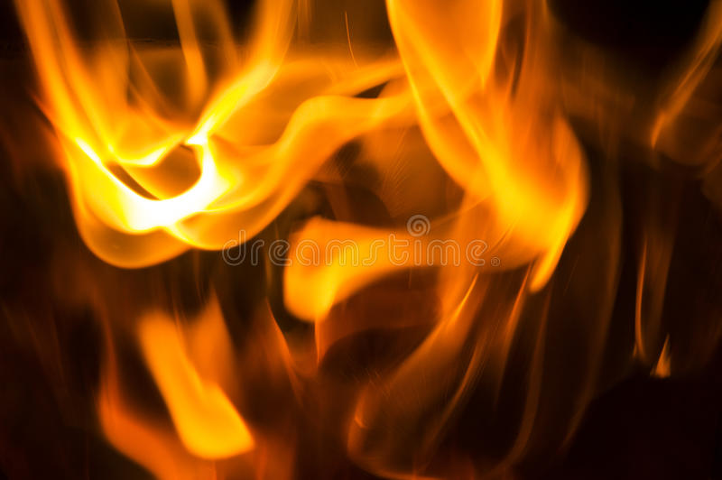 Flames. Of burning fire on black background royalty free stock photography