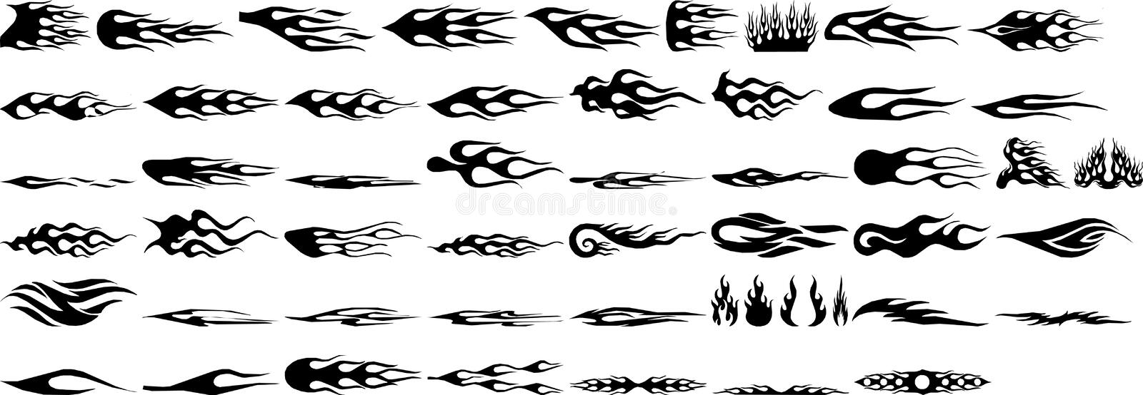 Flames. Rapid Flames Vector graphics, Different kinds of flames in different size and shape. all in vector formats stock illustration