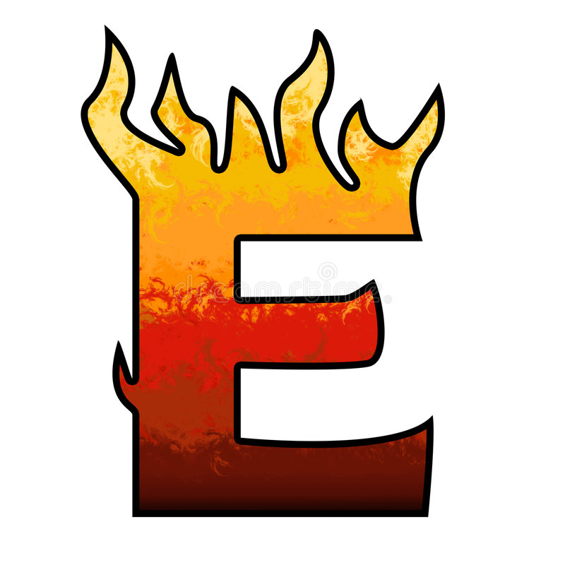 Flames Alphabet Letter E. Set of celebration alphabet letters and numbers stock illustration