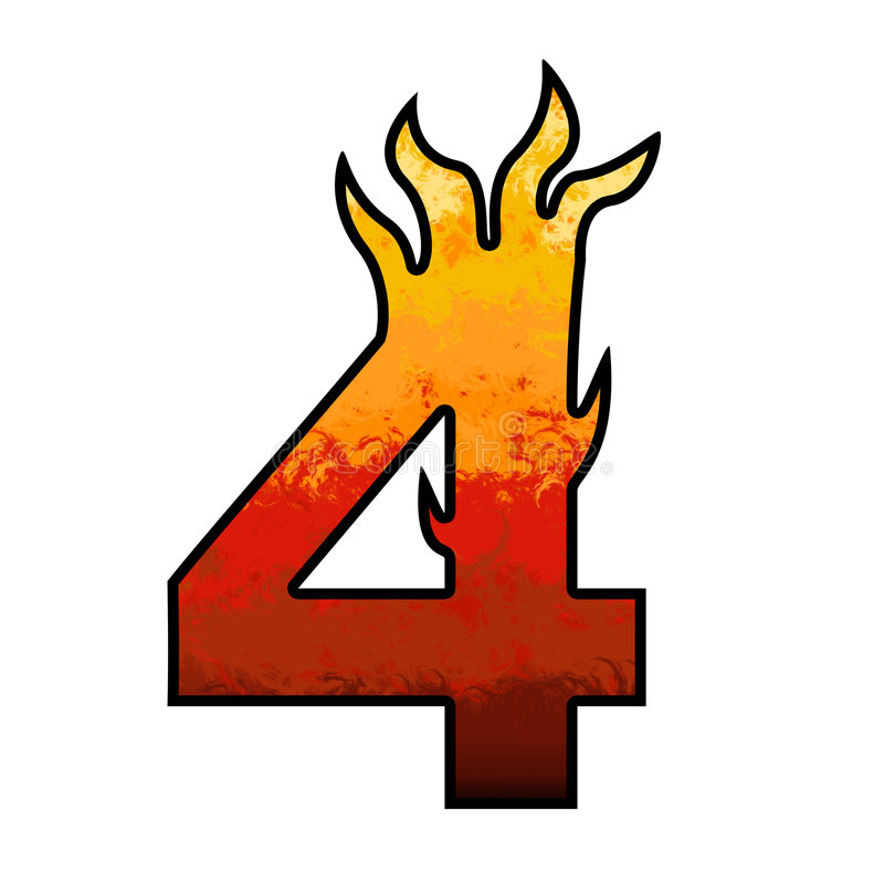 Flames Alphabet number 4 four. Set of celebration alphabet letters and numbers vector illustration