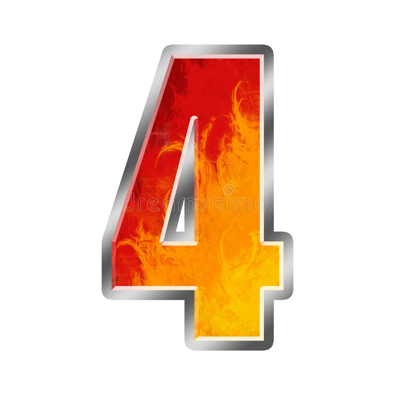 Flames Alphabet Number 4 Four Stock Illustration